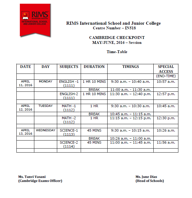 CAMBRIDGE CHECKPOINT MAY/JUNE, 2016 –Session – Time Table