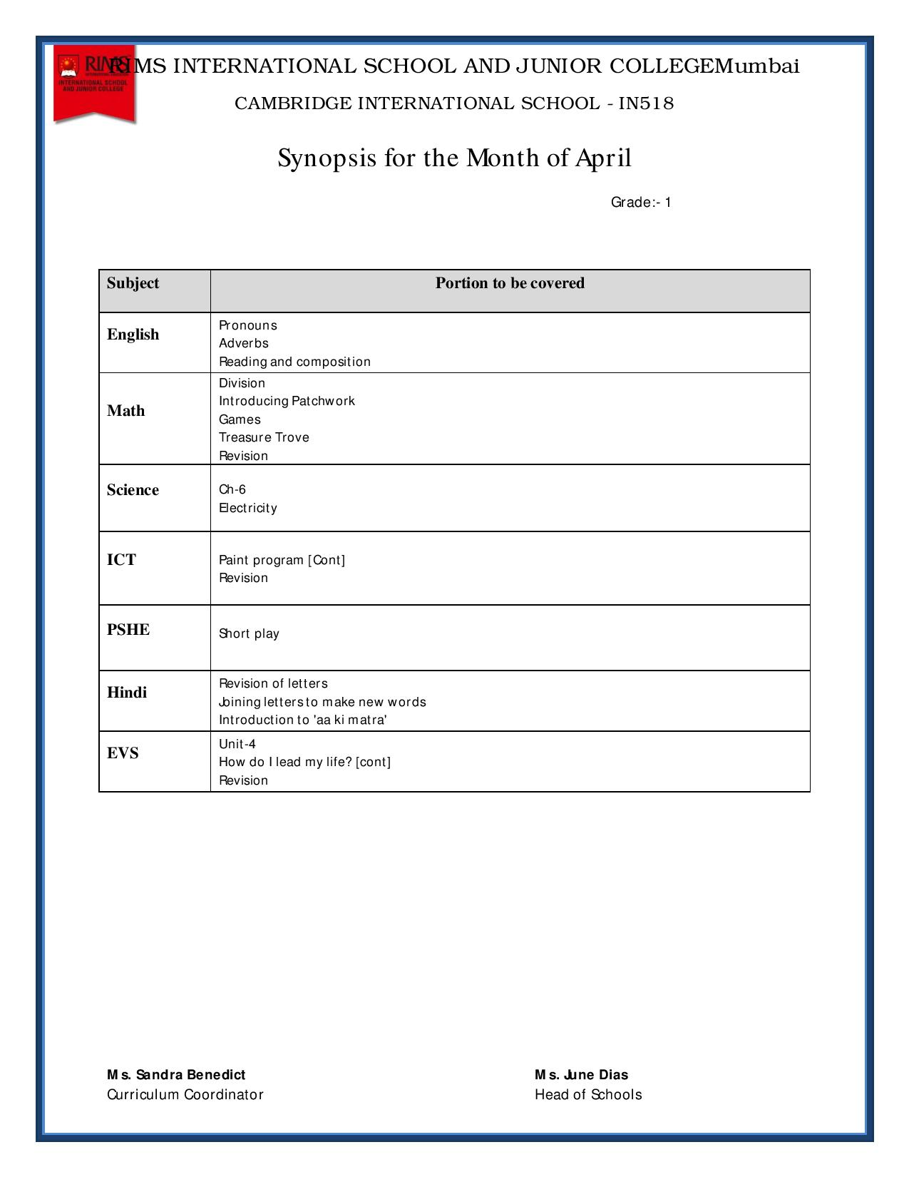 Synopsis for the Month of April - Grade 1