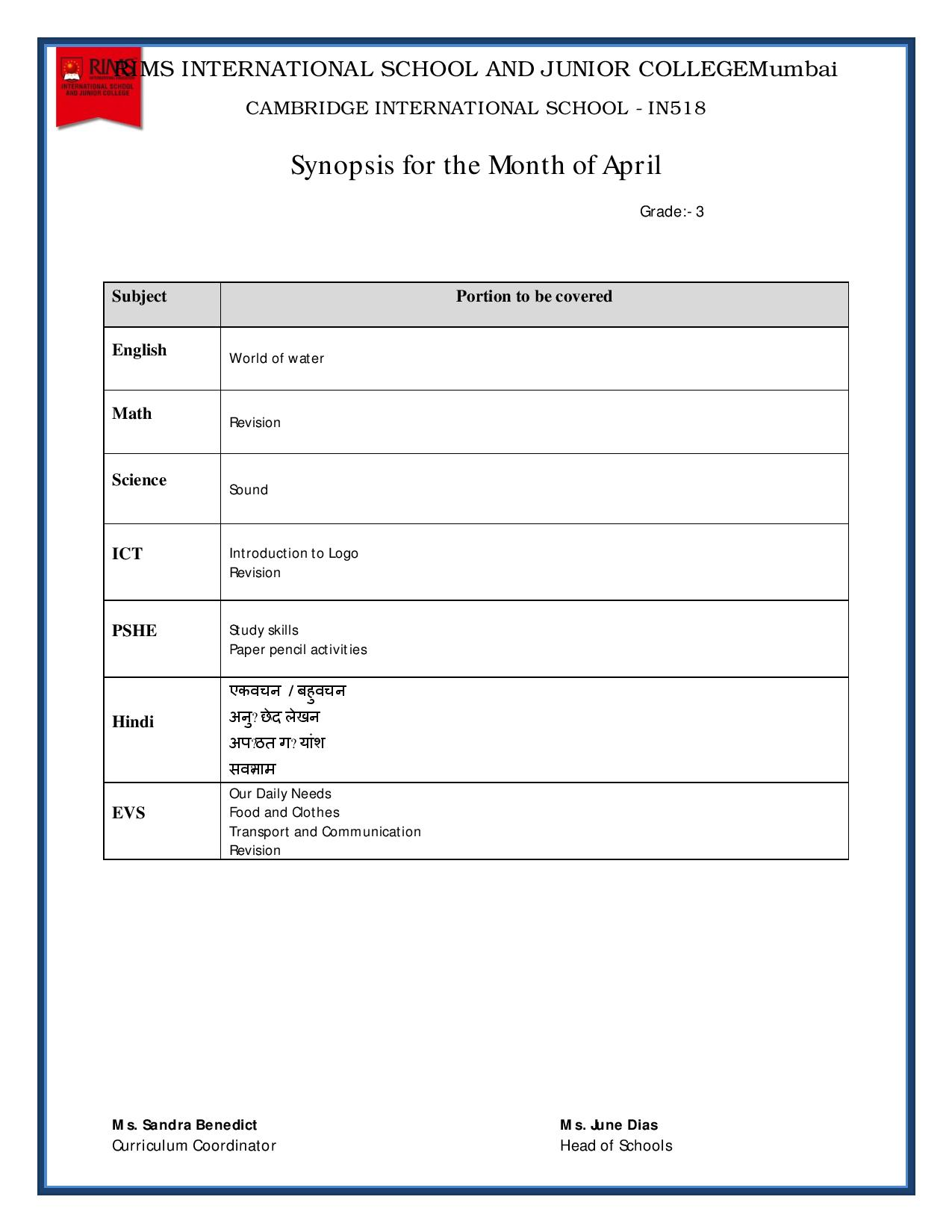 Synopsis for the Month of April - Grade 3
