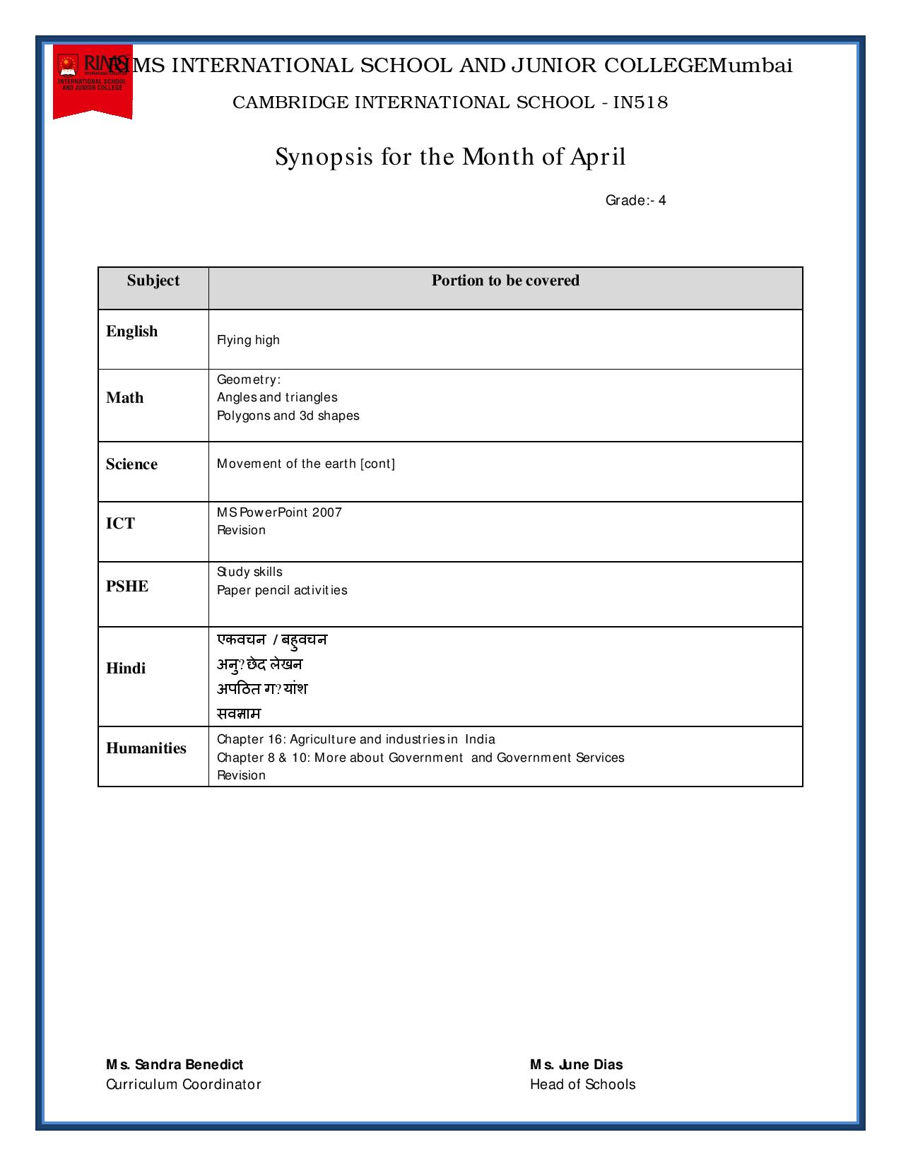Synopsis for the Month of April - Grade 4