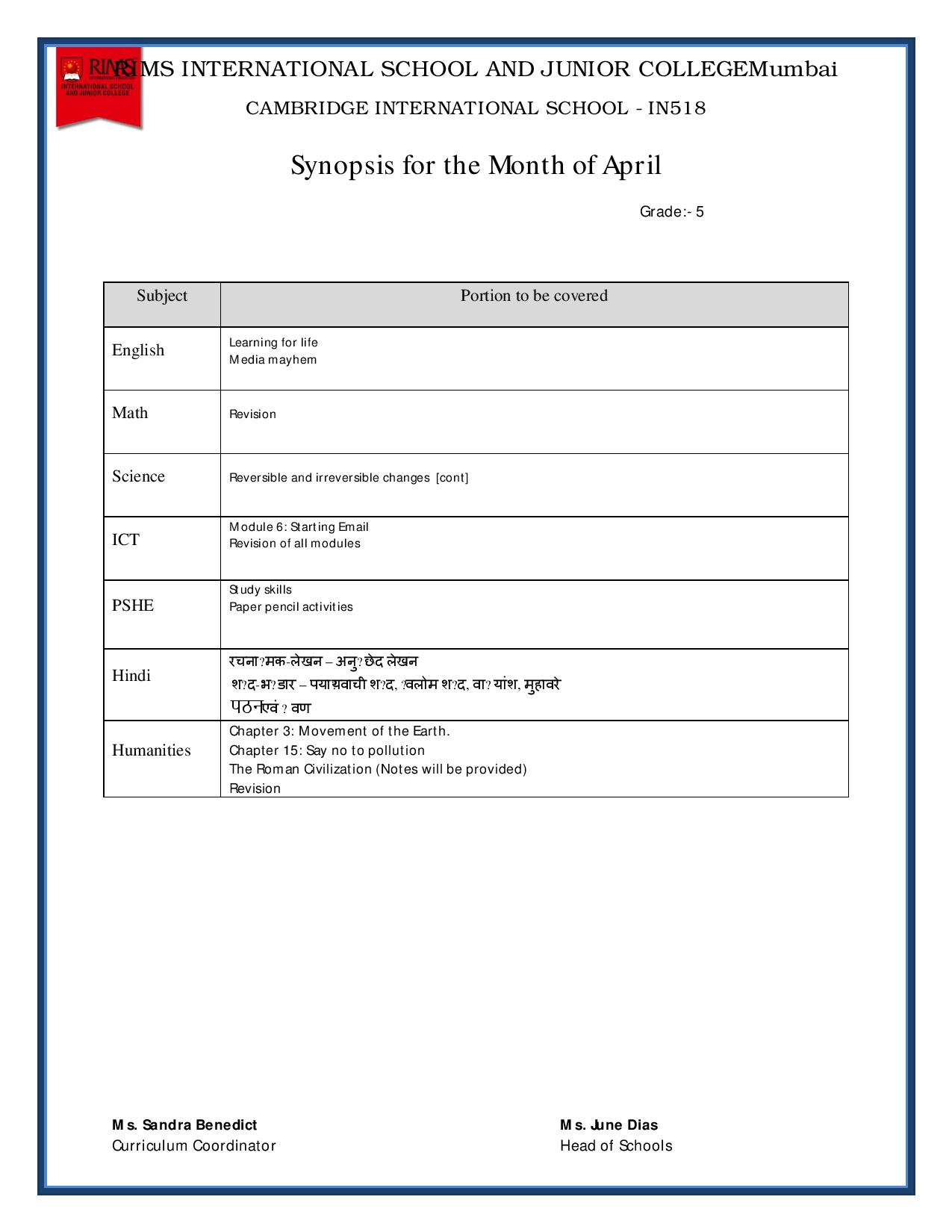 Synopsis for the Month of April - Grade 5
