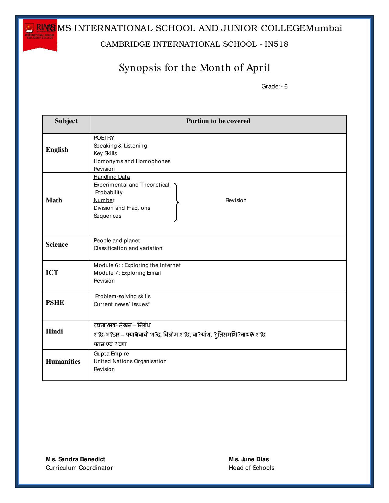Synopsis for the Month of April – Grade 6