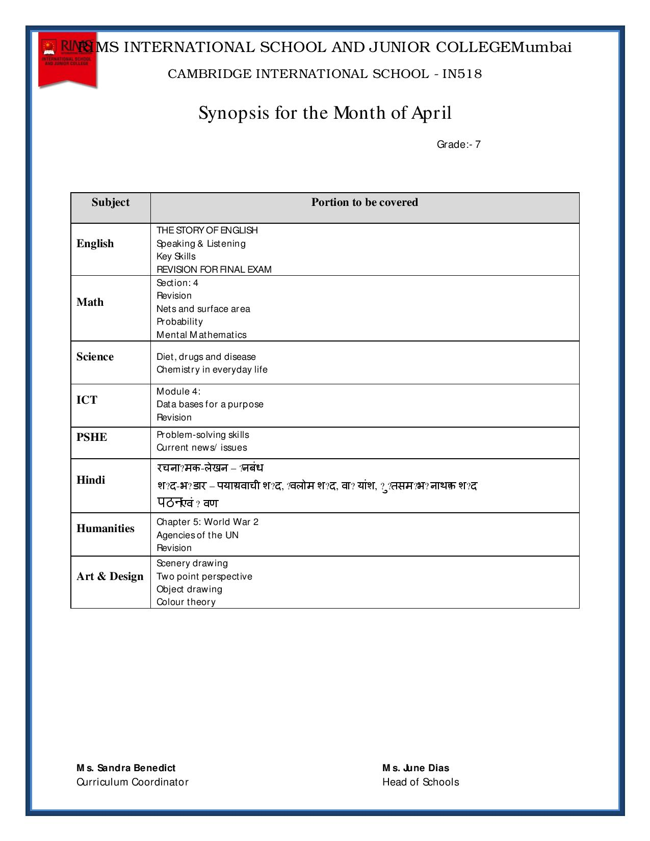 Synopsis for the Month of April – Grade 7