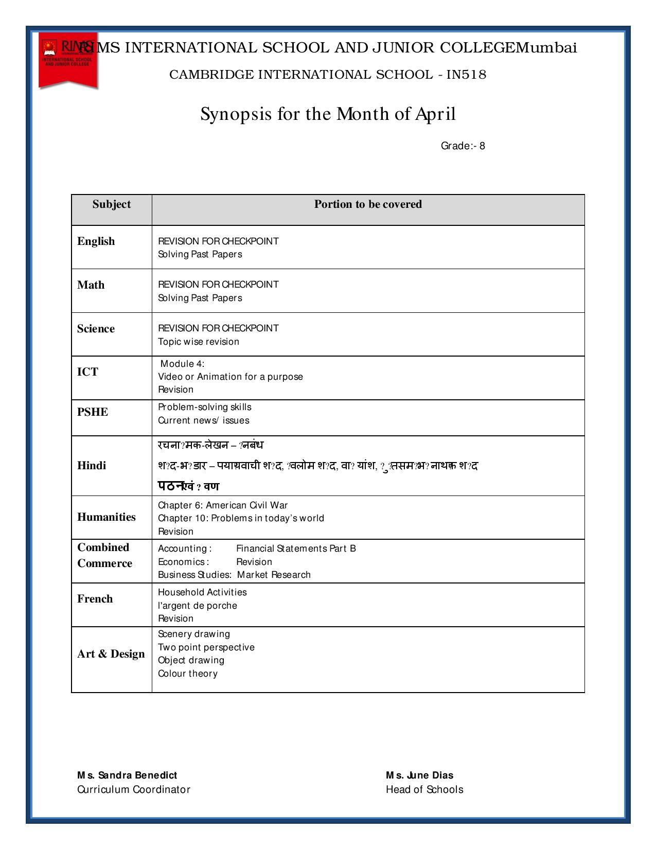 Synopsis for the Month of April – Grade 8